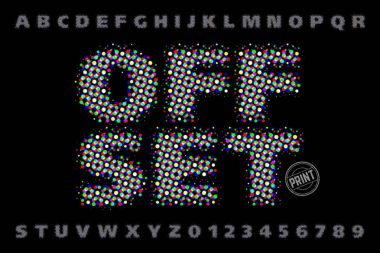 Offset print style modern font