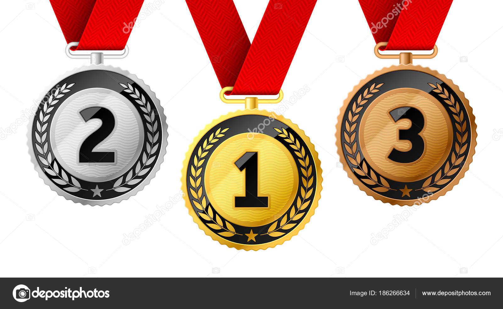 Medallas De Campeones Con Los Lazos Rojos