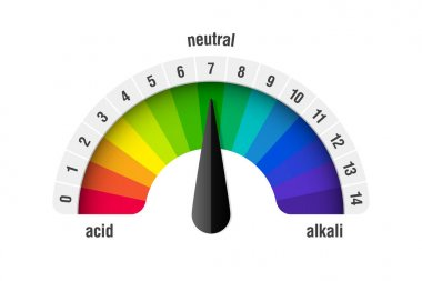 pH value scale meter for acid and alkaline solutions, acid-base balance infographic