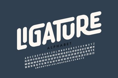 Ligature font, uppercase and lowercase alphabet letters with ligatures