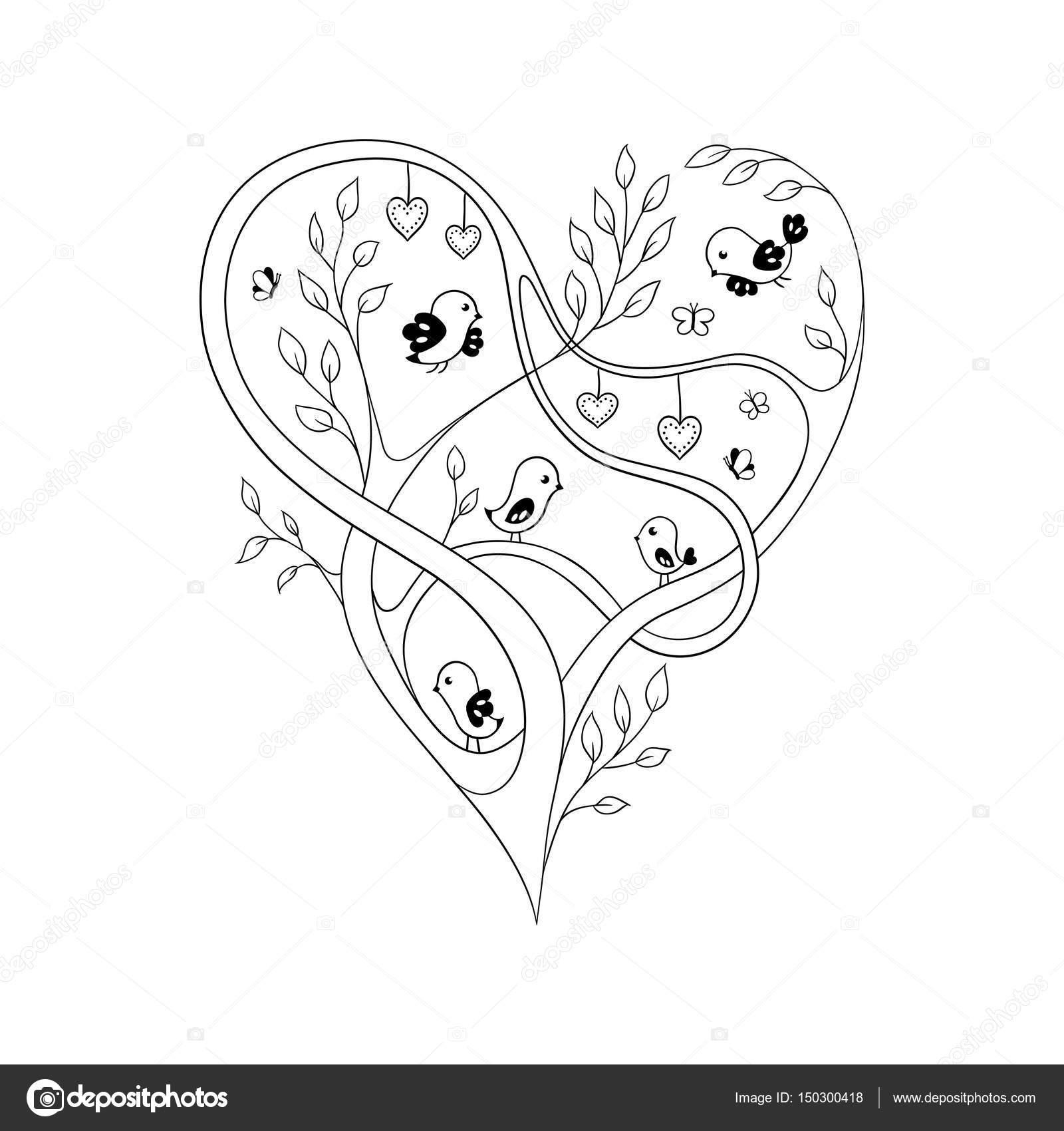 Doodle de corazón de árbol — Vector de stock © optimistic_view ...