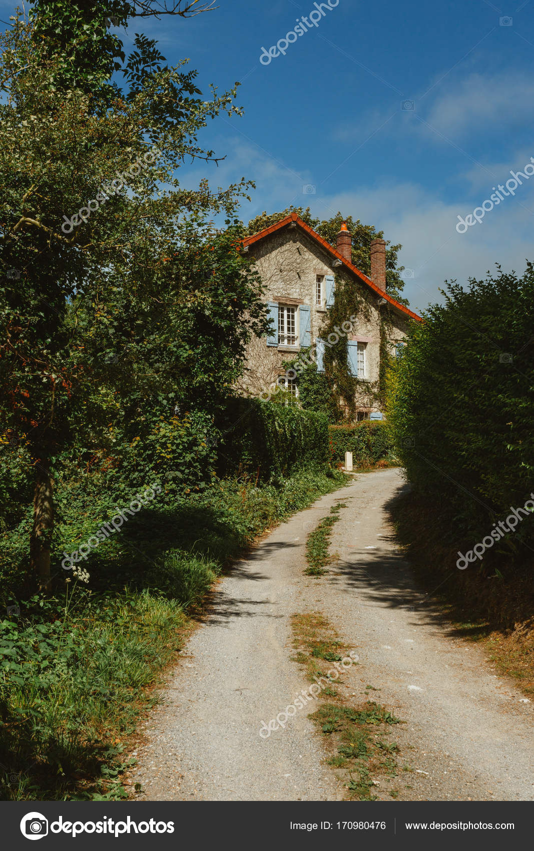 French Country Blue Shutters Old Country House With Blue