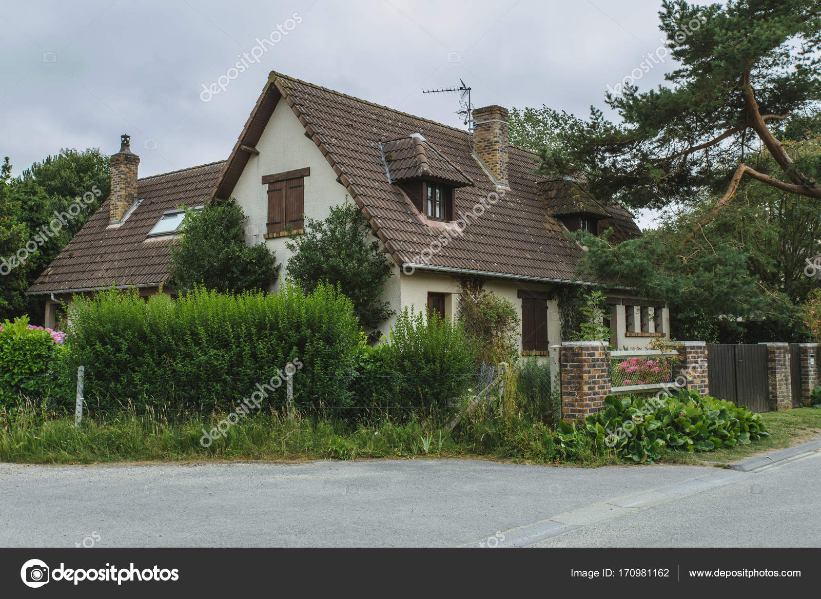 Country Houses With Green Fences And Streets In The Region Of Normandy France Beautiful Countryside Lifestyle Typical French Architecture