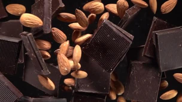Mandlová čokoládová exploze. Pomalý pohyb 500fps