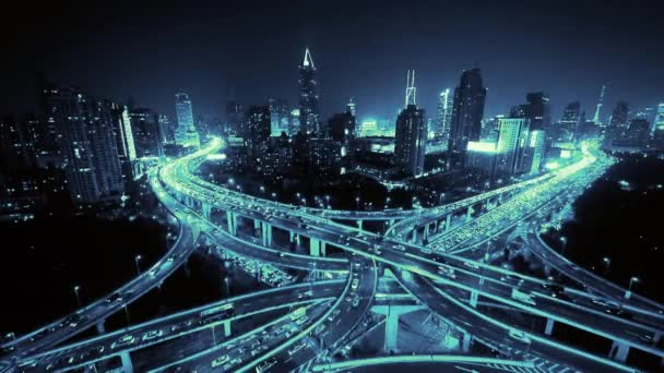Aerial View of freeway busy city rush hour heavy traffic jam highway at night.