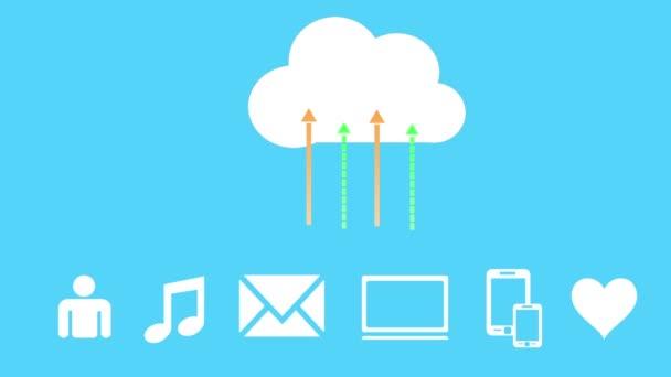 4k, frissítse az informatív felhő, feltöltése és letöltése folyamatban, web tech.