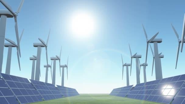 4 k solární panely  větrná energie, zelená volné energie
