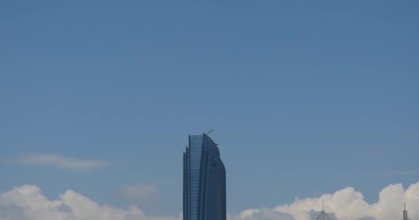 4k Altocumulus clouds sky over CBD building high-rise& skyscraper at urban city