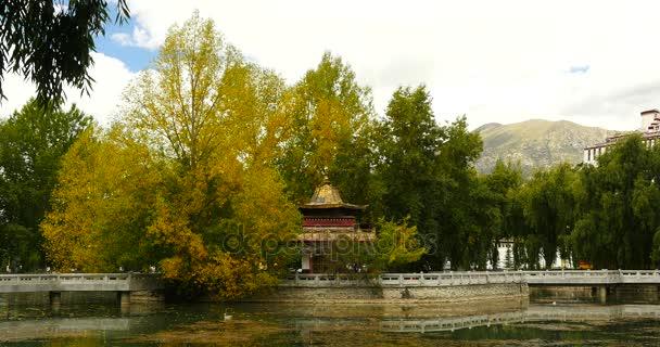4 k Lhasa Potala park na podzim, Tibet Čína, zlatý stromy  chrám na jezeře