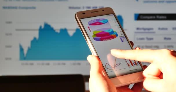 Čína-Jun 28, 2017:4 k lidské výzkum finanční grafy na smartphone, akcie graf trendů na webu