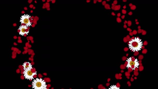 4 k růžových lístků sedmikrásky tvarované pozadí Valentýna svatební věnec.