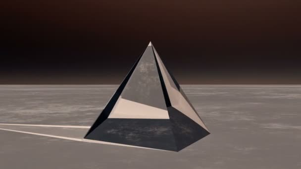 4K rotation glass pyramid from sky to ground in the wilderness,Sci-fi world.