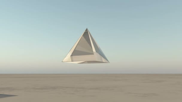 4K rotation glass pyramid from sky to ground in the wilderness,,Sci-Fi world.