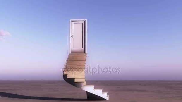 4 k otevřené dveře se schody, timelapse letící mraky na široké pláně, sci-fi scen