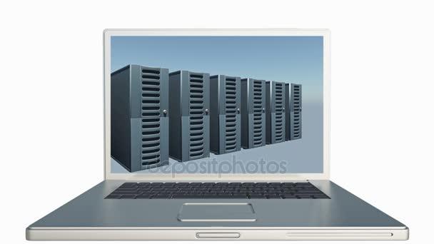 4k-Laptop spielt Video von Netzwerkservern ab, Speicherung von Computerdaten.