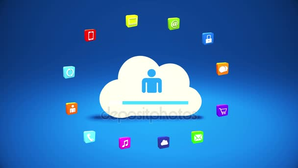 4k,internet Concept,online Services Icons,social Media Around Cloud Storage.  U2014
