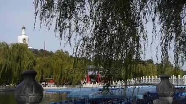 China Beijing ancient architecture Beihai Park white tower on willow island.