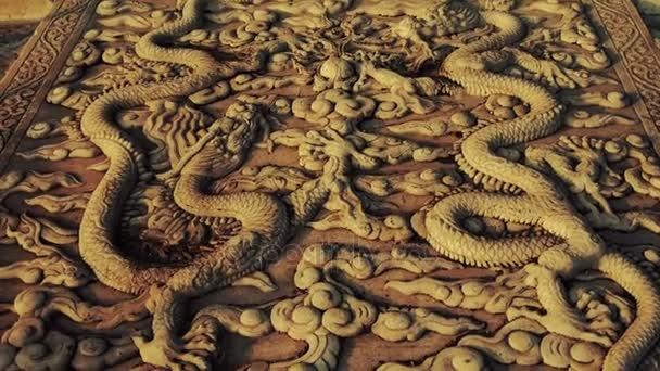 totem královského kamene dragon Čína v západu slunce, Zakázané město.