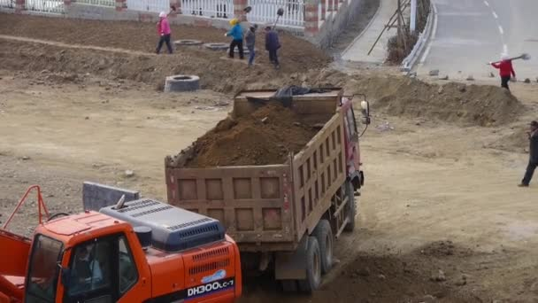Chijského-Aug 22, 2017:Excavator práce na staveništi.