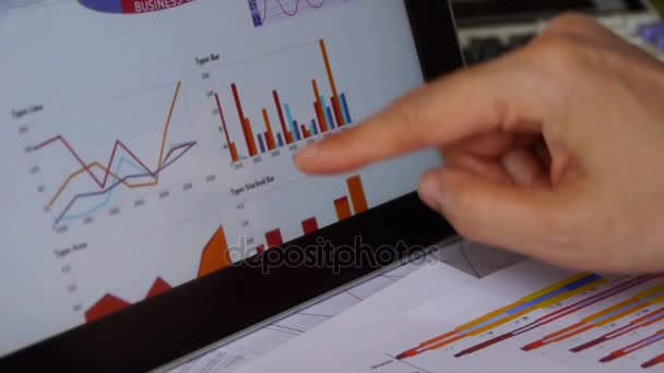 Businessman working on tablet with diagrams,finger touching finance pie charts.