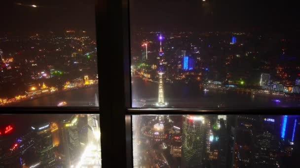 Letecký pohled na Shanghai noční scéna-z huanqiu vyhlídkové haly