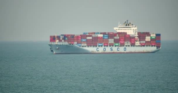 Čína-září 09, 2017:4 k nákladní kontejnerová loď v oceánu