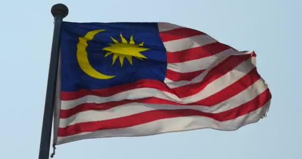 4k Malaysia flag is fluttering in wind.