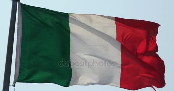 4k Italy flag is fluttering in wind.