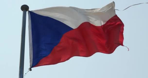 4 k Česká vlajka vlající ve větru