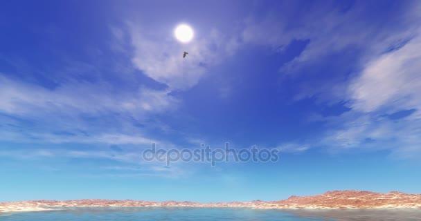 4 k Eagles vznášející se nad vysoké nebe, jezero  mountain, jasné slunce  cloud