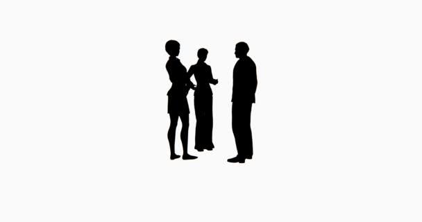 4k Business people silhouette talking.