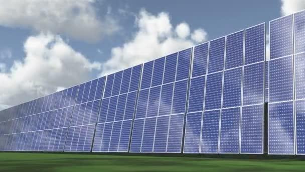 4k Solar panels-green free energy,timelapse clouds flying.