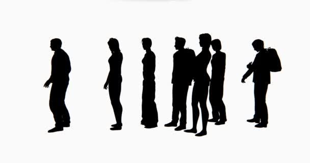 4 k csoport emberek sziluettje váró-ban vonal.