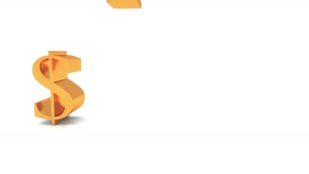 4k Usa Dollarschina Rmbeurogbp Symbol Falling On Groundgolden