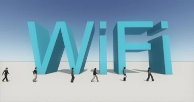 4k people walking on the front of wifi symbol,tech web sign.