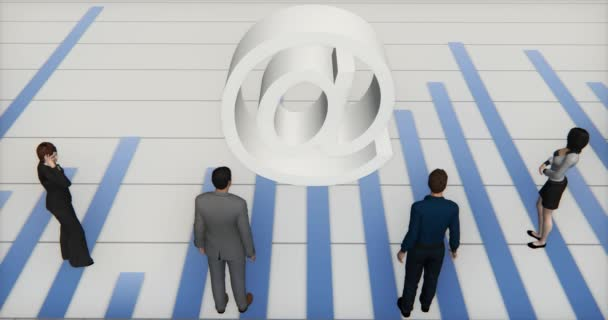 4k Business-Team steht auf dem Balkendiagramm Finanzen und Wirtschaft, Web-E-Mail-Symbol, analysieren Sie es, das Internet-Zeichen.