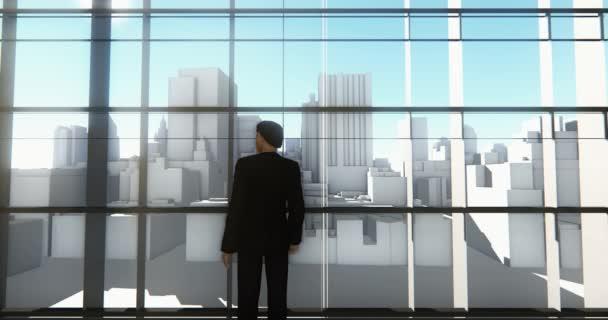 4k ein Geschäftsmann steht auf der Vorderseite von Fenstern  Ausblick Geschäftsgebäude.