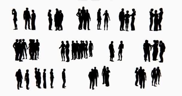 4k egy csoportja, üzleti emberek sziluettje beszél.