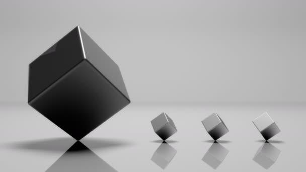 Cubo Di Metallo.4 K 3d Rotante Grande Cubo Di Metallo E Tre Piccolo Cubo Di Metallo Ciclo Senza Cuciture