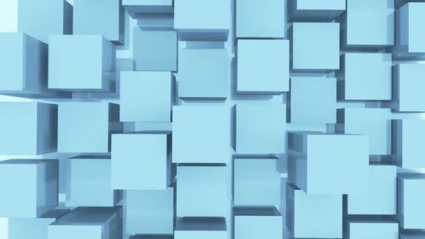 4k, abstrakte 3D-Animation mit weißen Würfeln.
