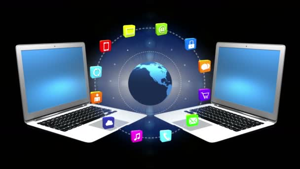 4k, internet fogalma, online szolgáltatások-ikonok, forog a föld, laptop háttér.