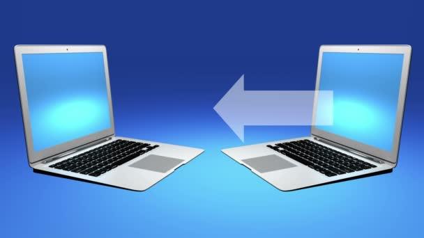4k, számítógépek, Laptop-val kék képernyő közötti adatátvitelt.