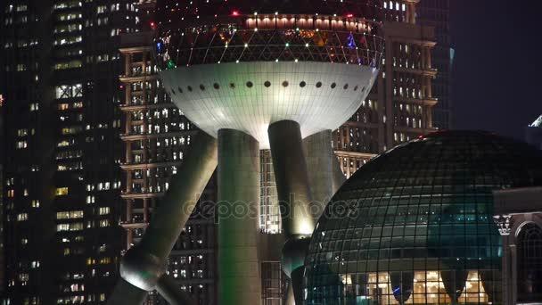 China-Sep 08,2016:Shanghai night,closeup of pearl-town  Lujiazui economic building.
