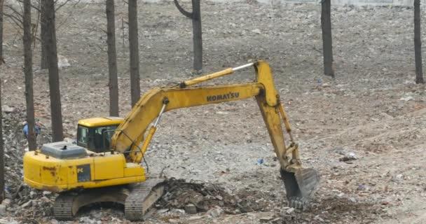 China-Feb 08,2017:4k excavator working  dumper truck on construction site,china.