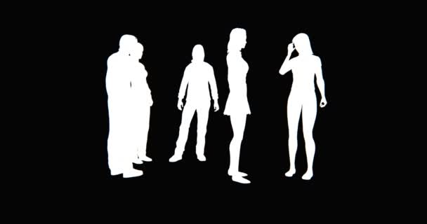 4k Business people silhouette talking or Using mobile Phones.