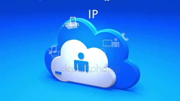 4k, Cloud computing připojení koncepty, konceptu Internetu, linie ikonu služby.