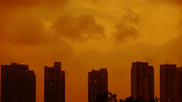 Dark clouds cover sky at evening,building high-rise,House silhouette,sunrise,su