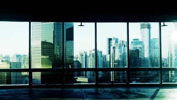 od budování okno zobrazíte moderní architektury v Pekingu, slunce projít wi
