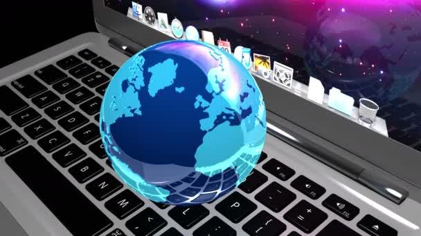 4k 3D rotieren Erde Modell auf dem Laptop, Geräte mit Internetverbindung.