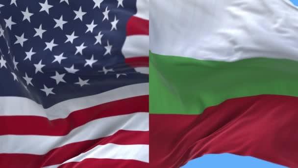 4k United States of America USA and Bulgaria National flag background.